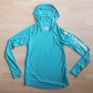 Teal Ladies Long Sleeve Hooded SPF Sun Boat Shirt